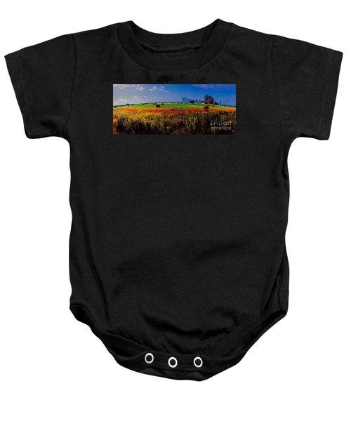 Michigan Uper  Farm Barn And Rolls Of Hay Brimly Michigan Baby Onesie