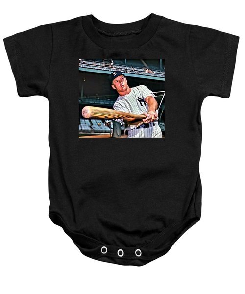 Mickey Mantle Painting Baby Onesie by Florian Rodarte
