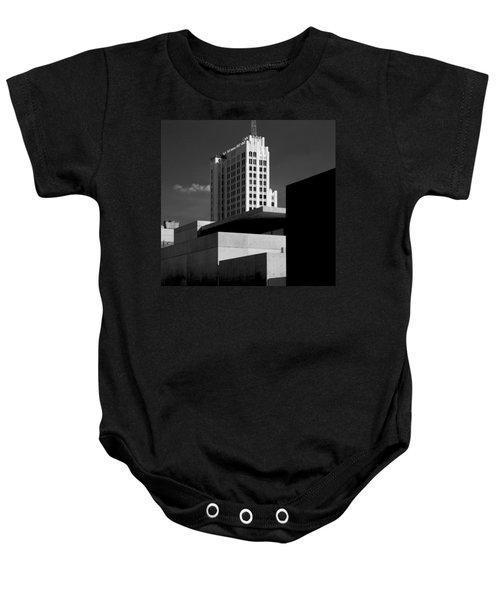Modern Art Deco Architecture Black White Baby Onesie