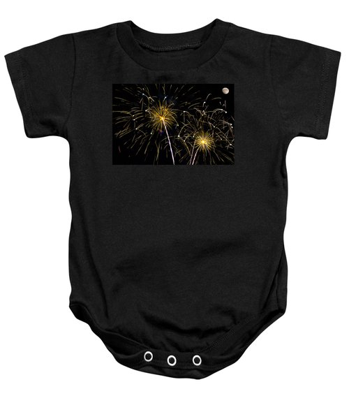 Moon Over Golden Starburst- July Fourth - Fireworks Baby Onesie