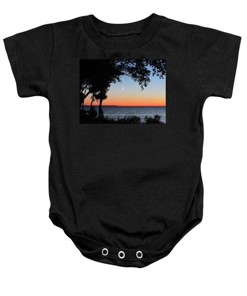 Moon Sliver At Sunset Baby Onesie