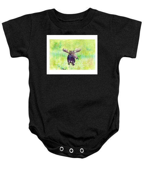 Moose In Flowers Baby Onesie