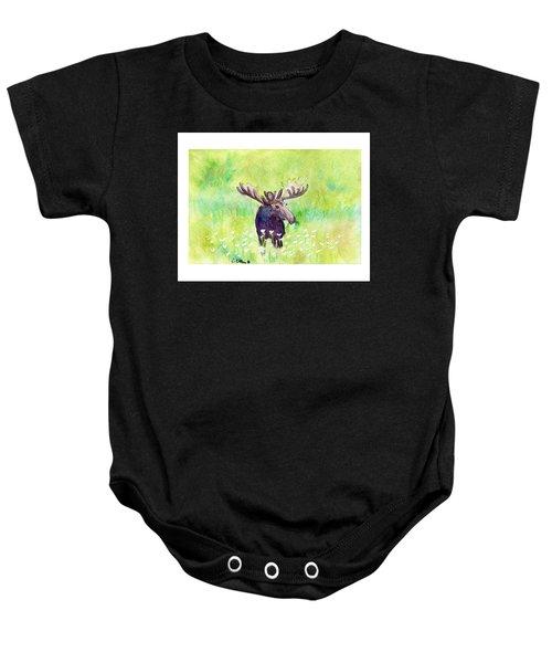Moose In Flowers Baby Onesie