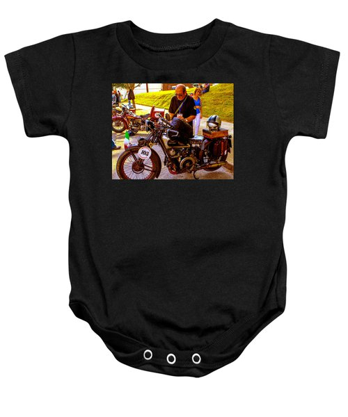 Moto Guzzi At Cannonball Motorcycle Baby Onesie