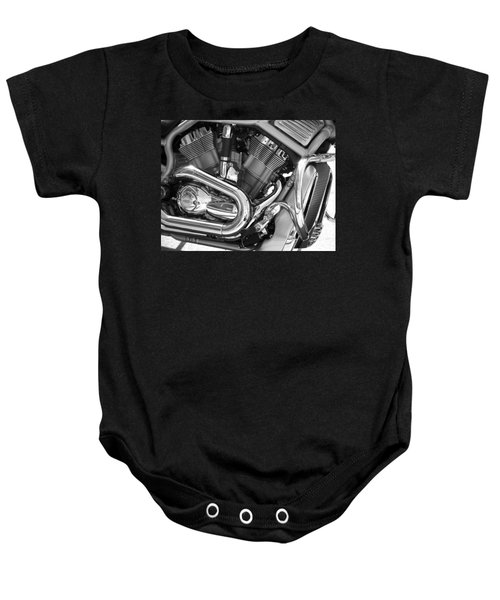 Motorcycle Close-up Bw 1 Baby Onesie