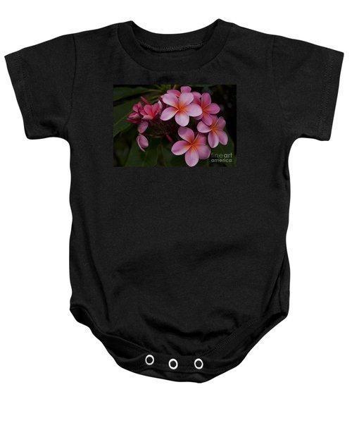 Na Lei Pua Melia O Wailua - Pink Tropical Plumeria Hawaii Baby Onesie