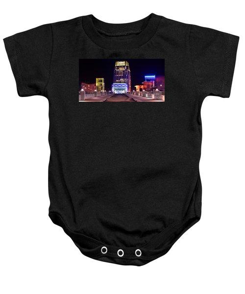 Nashville Sight Night Skyline Pinnacle Panorama Color Baby Onesie by Jon Holiday