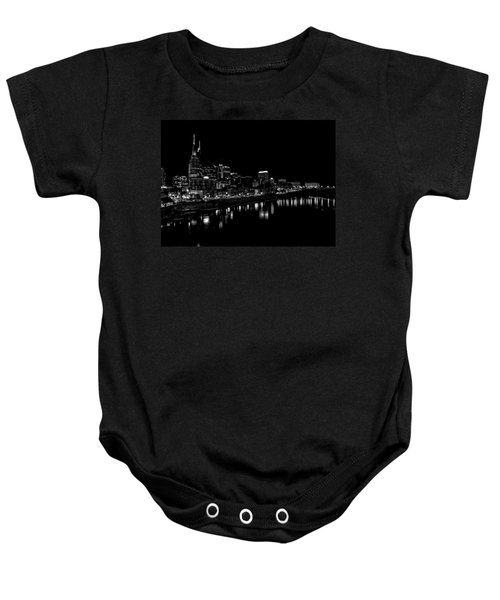 Nashville Skyline At Night In Black And White Baby Onesie by Dan Sproul