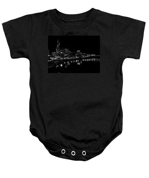 Nashville Skyline At Night In Black And White Baby Onesie