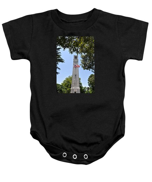 Nc State Memorial Bell Tower And Us Flag Baby Onesie