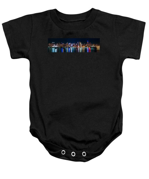New York Panorama By Night Baby Onesie