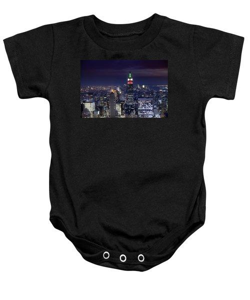 New York Skyline Night Color Baby Onesie