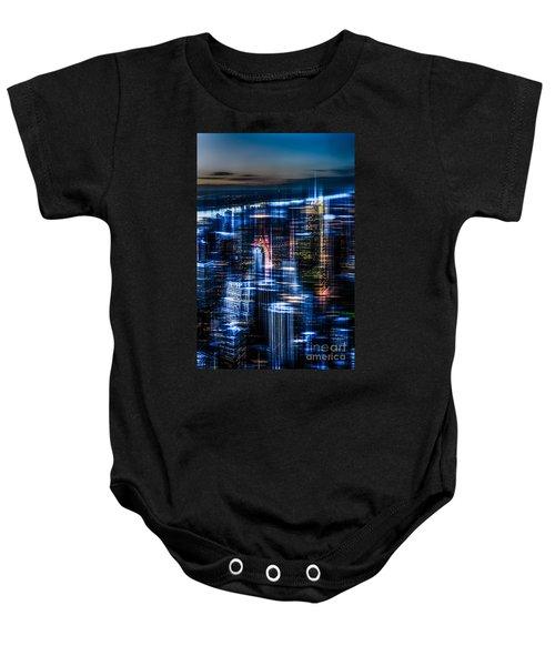 New York - The Night Awakes - Blue I Baby Onesie