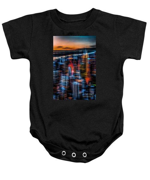 New York- The Night Awakes - Orange Baby Onesie