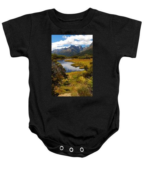 New Zealand Alpine Landscape Baby Onesie