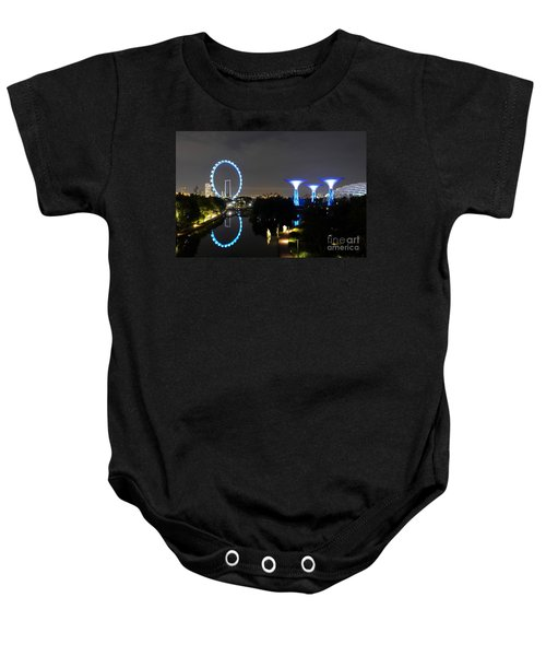 Night Shot Of Singapore Flyer Gardens By The Bay And Water Reflections Baby Onesie