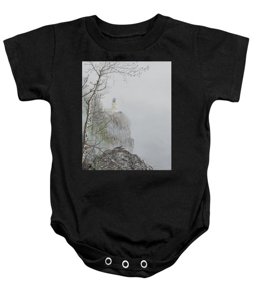 North Shore Lighthouse In The Fog Baby Onesie