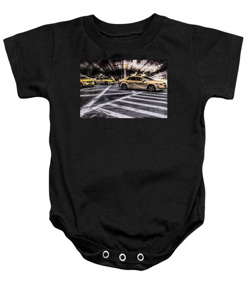 Nyc Yellow Cab On 5th Street - White Baby Onesie