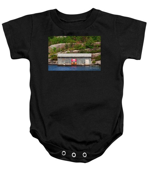 Old Boathouse With Two Muskoka Chairs Baby Onesie