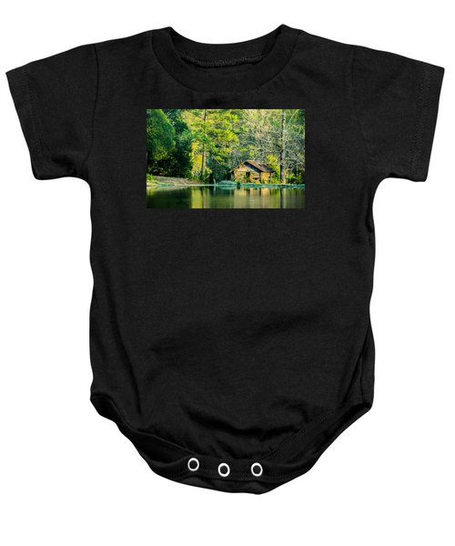 Old Cabin By The Pond Baby Onesie