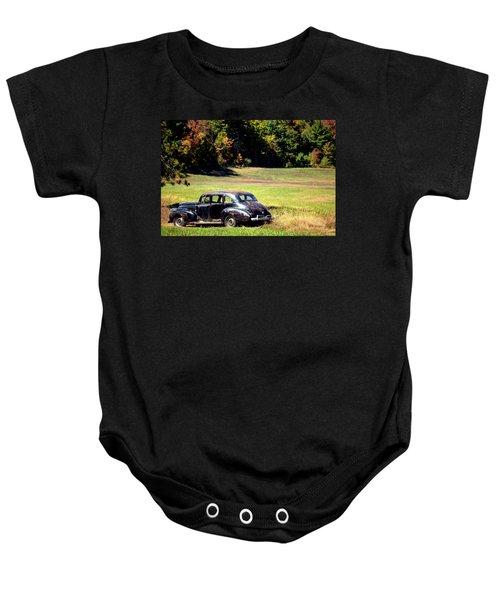 Old Car In A Meadow Baby Onesie