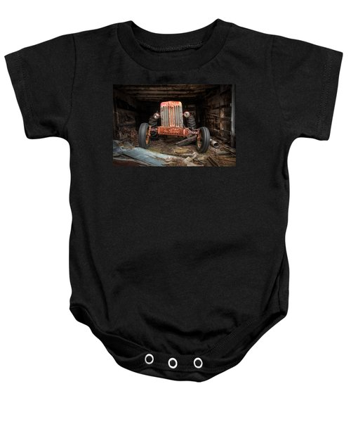 Old Tractor Face Baby Onesie