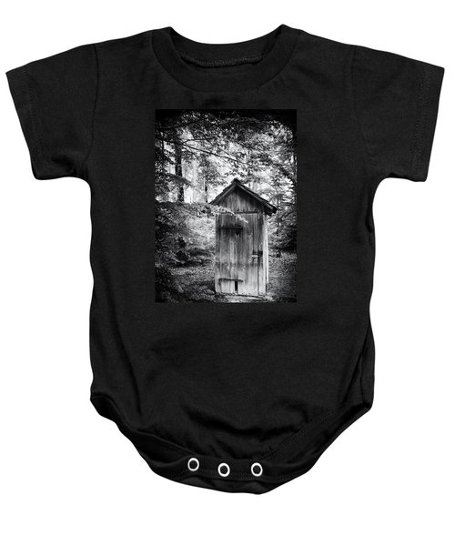 Outhouse In The Forest Black And White Baby Onesie