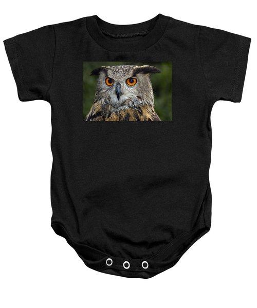 Owl Bubo Bubo Portrait Baby Onesie by Matthias Hauser
