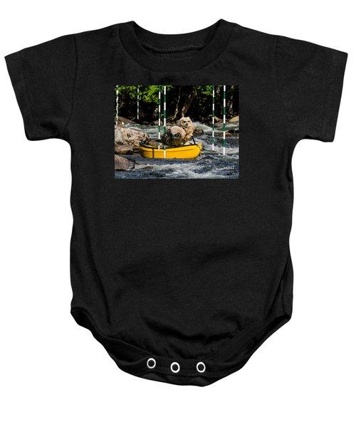 Owlets In A Canoe Baby Onesie