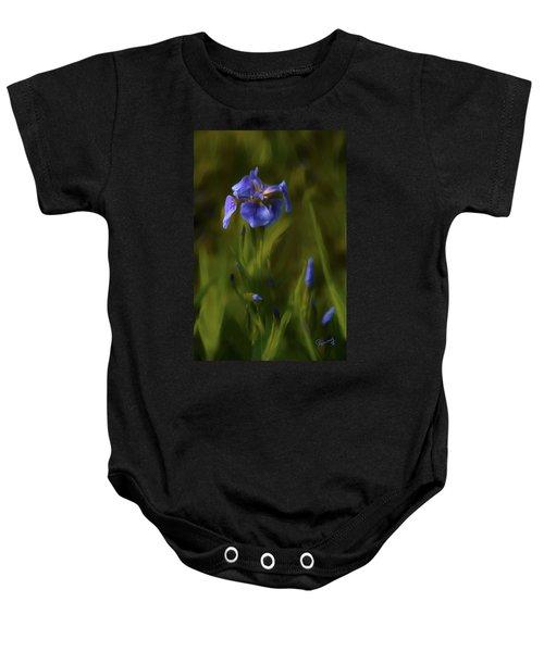 Painted Alaskan Wild Irises Baby Onesie