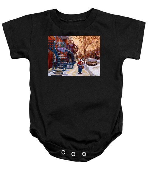 Paintings Of Montreal Beautiful Staircases In Winter Walking Home After The Game By Carole Spandau Baby Onesie
