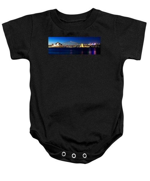 Panoramic Photo Of Sydney Night Scenery Baby Onesie