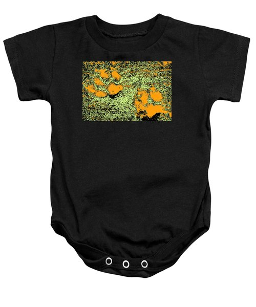 Paw Prints In Orange Lime And Black Baby Onesie