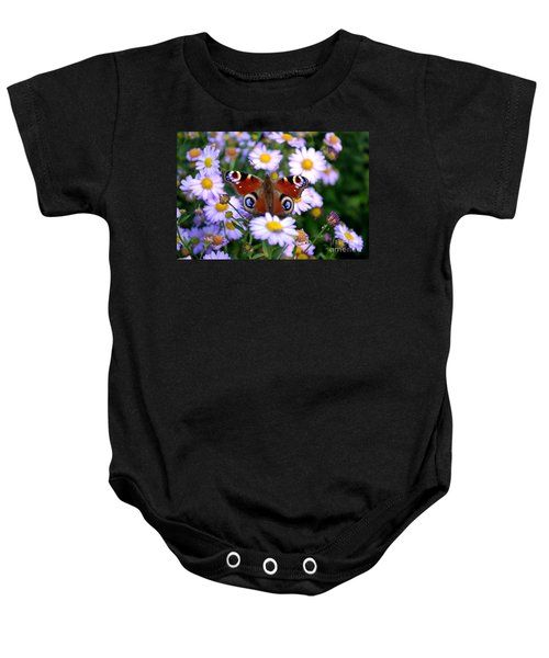 Peacock Butterfly Perched On The Daisies Baby Onesie
