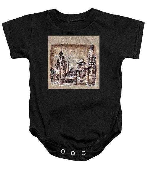 Peles Castle Romania Drawing Baby Onesie