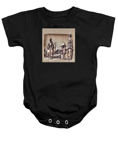 Peles Castle Romania Drawing Baby Onesie