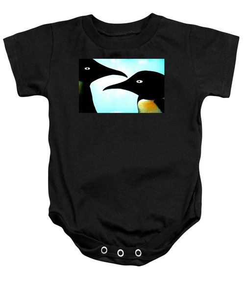 Baby Onesie featuring the painting Penquin Love by Colette V Hera  Guggenheim