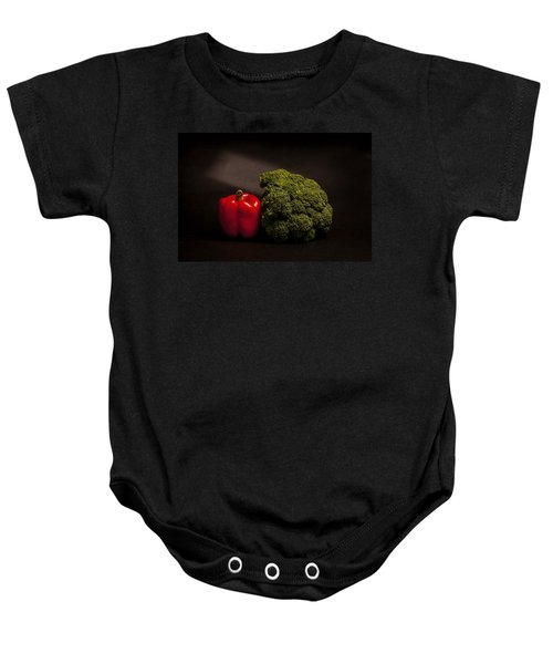Pepper Nd Brocoli Baby Onesie by Peter Tellone