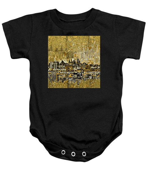 Philadelphia Skyline Abstract 3 Baby Onesie