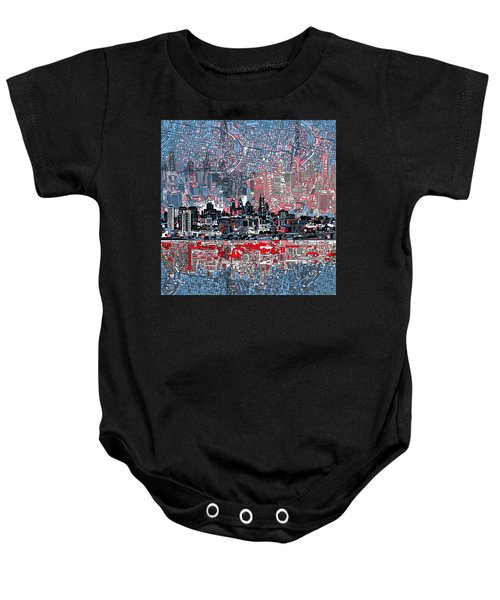 Philadelphia Skyline Abstract Baby Onesie