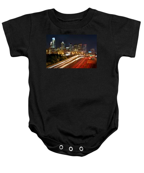 Philadelphia Skyline At Night In Color Car Light Trails Baby Onesie by Jon Holiday