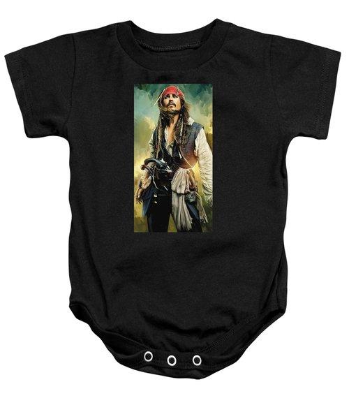 Pirates Of The Caribbean Johnny Depp Artwork 1 Baby Onesie
