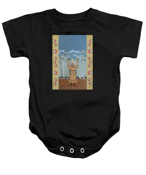 Baby Onesie featuring the painting Pondering Sacred Things - Manitoweyitamowin by Chholing Taha