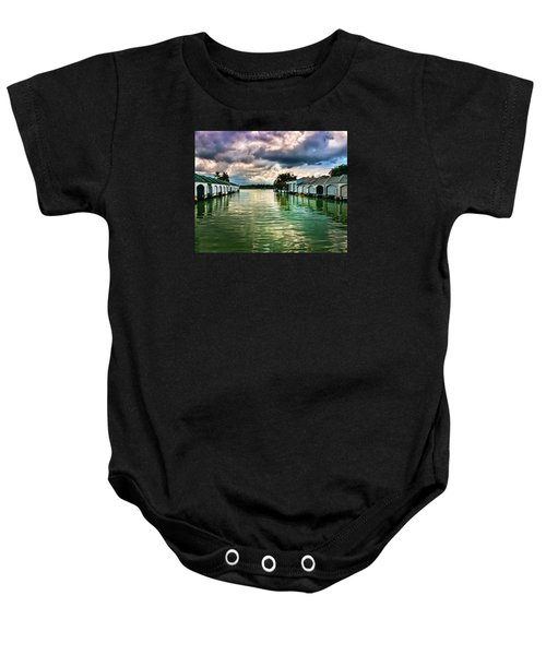 Storm Clouds Over  Port Royal Boathouses In Naples Baby Onesie
