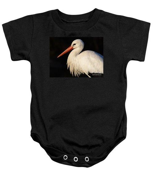 Portrait Of A Stork With A Dark Background Baby Onesie