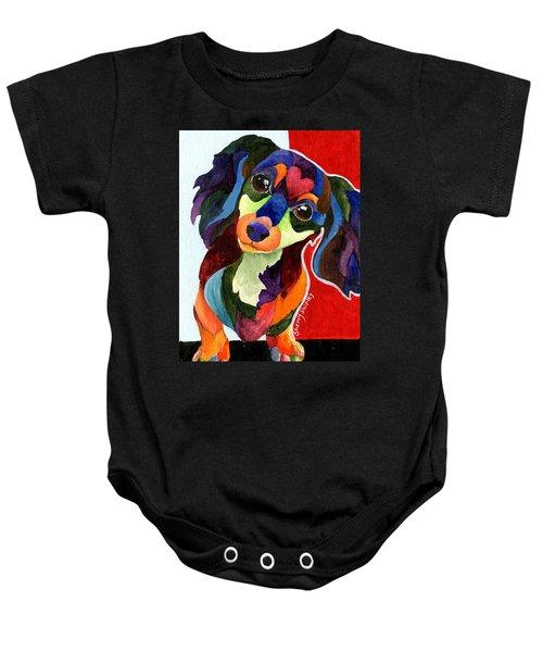 Puppy Love Long Haired Dachshund Baby Onesie