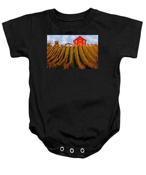 Red Barn In Autumn Vineyards Baby Onesie