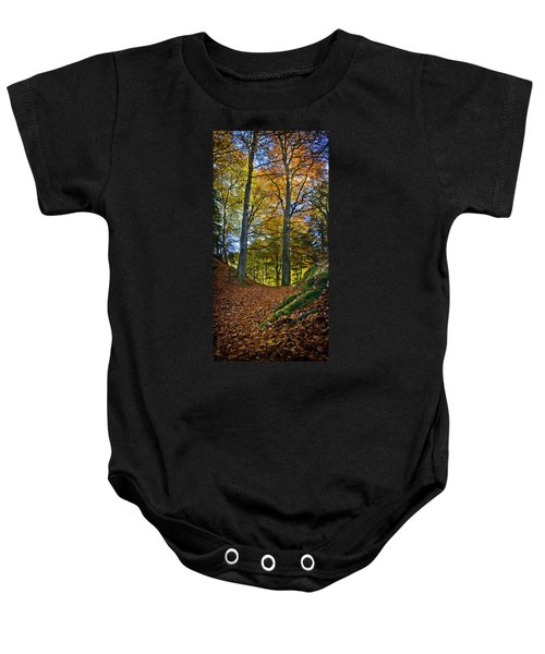 Red Carpet In Reelig Glen During Autumn Baby Onesie