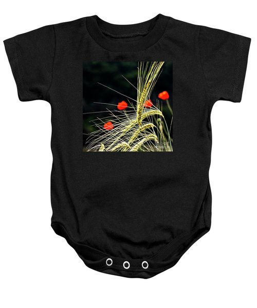 Red Corn Poppies Baby Onesie