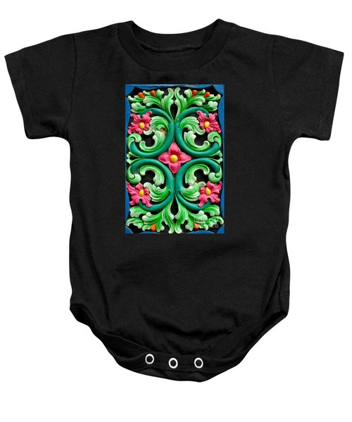 Red Green And Blue Floral Design Singapore Baby Onesie